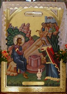 Icon of Jesus and Samaritan woman, in Church of St Photina (Seetheholyland.net)