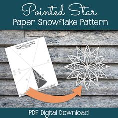 Follow this simple pattern to cut out a beautiful, detailed paper snowflake! Simply print out the template, fold, cut, and enjoy :) #snowflake #papersnowflake #snowflakepattern #printables