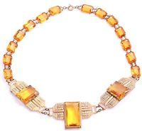Czech Signed Art Deco Statement Necklace Gold-Plated Topaz Glass Stones