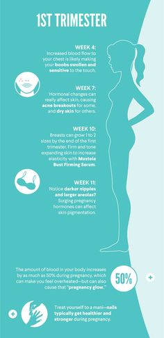 First trimester is an exciting time, because that's when you'll really start to notice some change.