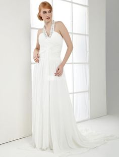 A-line White Chiffon V-neck Rhinestone Womens Prom Dress. Beautiful gowns come in all styles �from the highly ornate to the very basic. This one is one of those basic, yet gorgeously elegant examples. It features a halter-style bodice with beautiful rhinestone accents, V neck and.. . See More V-Neck at http://www.ourgreatshop.com/V-Neck-C936.aspx
