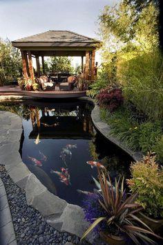 Beautiful DIY Backyard Gazebo Design and Decorating Ideas 48 + Schöne DIY Hinterhof Pavillon Design und Deko-Ideen Garden Pond Design, Landscape Design, Backyard Gazebo, Backyard Ponds, Garden Ponds, Koi Ponds, Backyard Ideas, Gazebo Ideas, Sloped Backyard