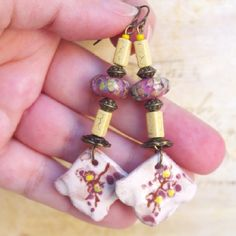 Yellow Strawberry earrings artisan lampwork bead sakura flower jewelry