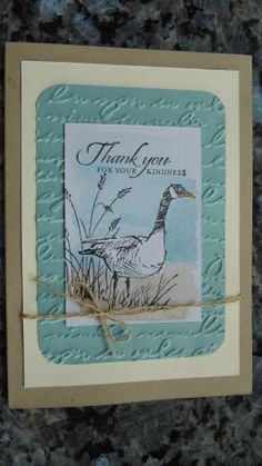 Card Stock: Crumb Cake, Very Vanilla, Pool Party, Watercolour Paper Stamp Set: Stampin' Up Wetlands Linen Thread