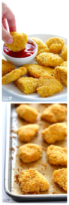 Parmesan Baked Chicken Nuggets -- crispy on the outside, tender on the inside, easy to make, and SO delicious! | gimmesomeoven.com