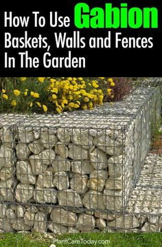 """Gabion wall, """"cage"""" or basket uses metal mesh to create a big basket. A gabion wire faced fence or basket holds some interesting and useful [READ MORE] Design Patio, Fence Design, Garden Design, Exterior Design, Gabion Retaining Wall, Gabion Baskets, Stone Fence, Decoration Christmas, Diy Garden Projects"""