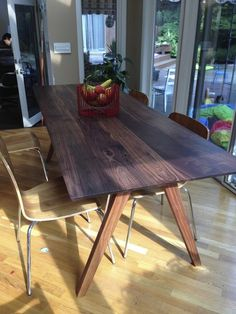 ed3386f779e3 Custom Made Mid Century Modern Inspired Walnut Dining Table Nook Table