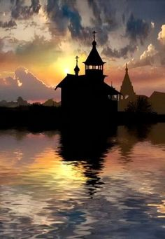 Russian church in the sunset