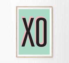 Retro Modern Wall Art - Midcentury Modern 50s Typographical Poster - Pink & Teal XO Midcentury Home Decor - Mod Wall Art Print - Girls Room