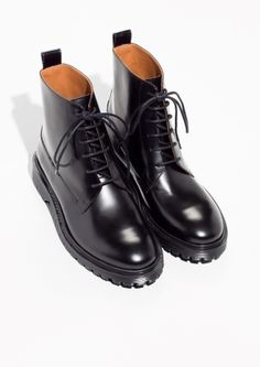 & Other Stories image 2 of Lace-Up Leather Boots in Black