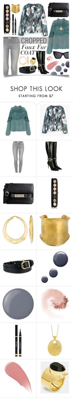 """""""Cropped Faux Fur Coats"""" by ittie-kittie on Polyvore featuring MANGO, Paige Denim, Gucci, Proenza Schouler, Marc Jacobs, Ross-Simons, Emilio Pucci, Topshop, Essie and NARS Cosmetics"""