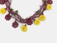 Crochet Necklace Yellow and Burgundy Oya Flowers by Nakkashe
