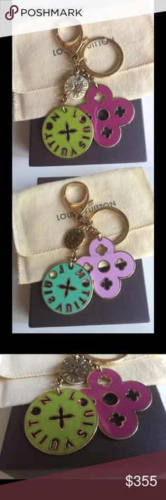 🚫SOLD🚫Louis Vuitton Porte Cles Key Bag Charm Louis Vuitton Porte Cles Key Ring/Bag Charm in good condition! Charm has been gently used with minor surface scratches. Beautiful, vibrant colors! Louis Vuitton Accessories Key & Card Holders