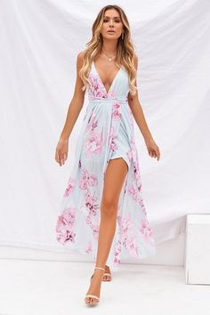 floral fantasy maxi, baby blue, pink, floral print, floral maxi, pastel maxi, feminine outfits, summer maxi dress, spring maxi dress, autumn maxi dress, cocktail dress, event dress, backless maxi dress, style, women's fashion