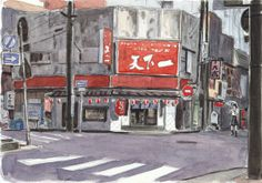 Watercolor Sketches in Japan by Olivier by Atelier Sentô, via Behance