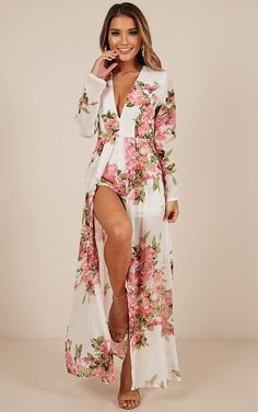 Steal The Show Playsuit In White Floral Maxi Playsuit, White Playsuit, Romper Dress, Dress Skirt, Sexy Dresses, Casual Dresses, Fashion Dresses, Summer Dresses, Classy Work Outfits