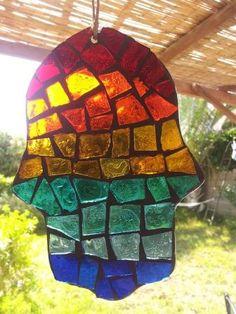 glass artists of Israel   Mosaic Glass Hamsa Sun catcher in Rainbow colors Judaica Art Evil Eye ...