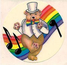 Lisa Frank Rainbow Dancing Teddy Bear Sticker