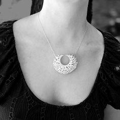 Vessel Pendant by Jessica Rosenkrantz (3D printed nylon on sterling silver chain)