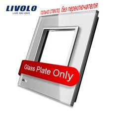 Livolo lujo gris perla de cristal, 80mm * 80mm, estándar de LA UE, Panel De Toma de Interruptor de Pared De Cristal único, VL-C7-SR-15