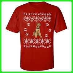 Airedale Terrier Ugly Christmas Sweater - Adult Shirt 4xl Red - Holiday and seasonal shirts (*Amazon Partner-Link)