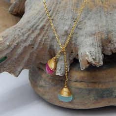 Double Faceted Gemstone Handmade Necklace With 22k by darlingpiece
