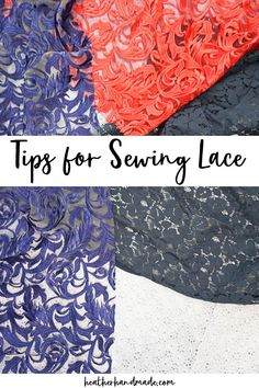 Learn all about how to sew lace to make beautiful handmade clothing. These sewing tips work for sewing and altering lace dresses.Lace is such a beautiful fabric, and there are so many beautiful lace fabrics to buy and sew. When I work with lace, I usually make a dress or a top. Sometimes I alter lace dresses for me or clients.Lace is such a delicate fabric that you need some tips and tricks to be able to sew and work with it. I've gathered all the information to make lace easier to sew. Sewing Blogs, Sewing Tutorials, Sewing Crafts, Sewing Tips, Sewing Essentials, Sewing Ideas, Sewing Lace, Love Sewing, Fabric Sewing