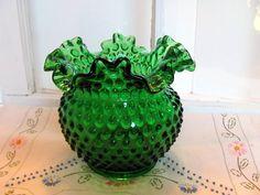 Fenton Green Hobnail Vase  Fenton Emerald by VintageLoversShop