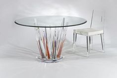 CRYSTAL ROUND DINETTE TABLE COLORED by Shahrooz shahrooz-art.com - #AcrylicFurniture, #LuciteFurniture ACRYLICORE by Shahrooz is one of the top-leading designers and manufacturers in Fine Clear Acrylic Furniture and #Sculptures in the country. www.shahrooz-art.com  888-406-4846
