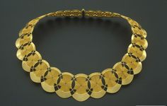 Mary Lee Hu, 1978, Choker #38, fine and sterling silver, 18k and 24k gold, and lacquered copper, c...
