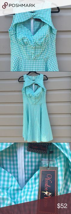 VooDoo Vixen gingham dress baby blue Absolutely brand new, with original tags. Pristine. Untouched. Unworn.  Such an adorable and playful dress with fit and flare silhouette. A pin up girls dream. Runs a bit small. Voodoo Vixen Dresses Mini