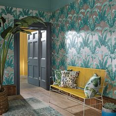 Bring some exotic greenery into your home with Osborne & Little's Palmaria wallpaper and matching fabric (seen here on the cushions along with the Porto Venere fabric). Palm Wallpaper, Tropical Wallpaper, Wallpaper Direct, Modern Wallpaper, Bathroom Wallpaper, Wallpaper Online, Designer Wallpaper, Designers Guild, Botanical Interior