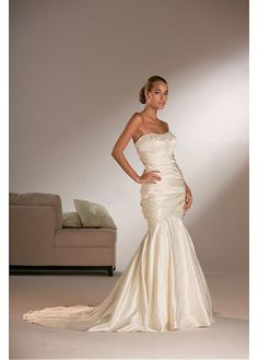 SATIN MERMAID STRAPLESS BEADED WEDDING DRESS LACE BRIDESMAID PARTY BALL EVENING COCKTAIL IVORY WHITE FORMAL PROM