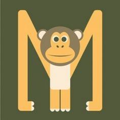 Letter M // Animal Alphabet // Monkey Monogram Art Print by Jen Montgomery - X-Small Preschool Letter Crafts, Alphabet Letter Crafts, Abc Crafts, Kindergarten Crafts, Alphabet Activities, Preschool Crafts, Letter Art, Monkey Crafts, Monkey Art