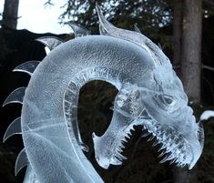 """""""Hunting Dragon"""" ice sculpture, by Steve Brice, Heather Brice, Steve Cox and Justin Cox Ice Dragon, Dragon Art, Dragon Head, Snow Sculptures, Sculpture Art, Metal Sculptures, Abstract Sculpture, Bronze Sculpture, Akira"""