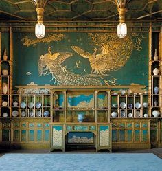 James McNeill Whistler's Peacock Room, Freer Gallery, Washington . Peacock Room, Roman And Williams, James Mcneill Whistler, Freer Gallery, Turquoise Room, Aesthetic Movement, Aesthetic Style, Interior Design Inspiration, Chinoiserie