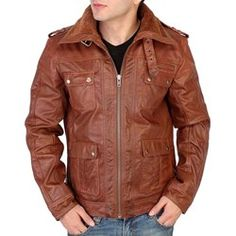 Buy Mens Brown Leather Jacket at Fall Fashion Outfits, Blazer Fashion, Denim Fashion, Men's Leather Jacket, Leather Jackets, Casual T Shirts, Brown Leather, Nice Jackets, Design