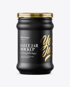 Matte Sauce Jar Mockup - Front View