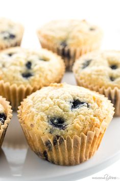 Keto Low Carb Paleo Blueberry Muffins Recipe with Almond Flour - Ultra moist almond flour blueberry muffins from scratch are quick and easy to make! This low carb paleo blueberry muffins recipe takes just 30 minutes. From Wholesome Yum. Blueberry Muffins From Scratch, Paleo Blueberry Muffins, Keto Breakfast Muffins, Low Carb Breakfast, Blue Berry Muffins, Breakfast Recipes, Keto Pancakes, Keto Donuts, Dessert Recipes
