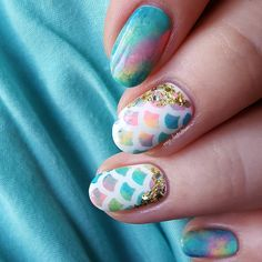 These mermaid nails are amazing! New Nail Art Design, Cute Nail Art Designs, Toe Nail Designs, Love Nails, How To Do Nails, Pretty Nails, My Nails, Mermaid Nail Art, Manicure Y Pedicure