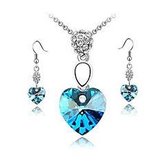 cristal austriaco conjunto de aretes collar de la forma del corazón de la joyería