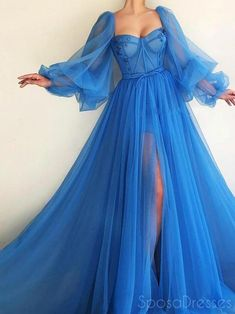A-line Tulle Long Sleeves Blue Long Prom Dresses, Sweet 16 Prom Dresses, 12439The Long Evening Prom Dresses are fully lined, there are bones in the bodice, chest pad in the bust, lace up back or zipper back are all available, it could be custom size and color, there are no extra cost to do custom order.Description 1, Material: tulle,applique,embroidered.2, Color: it can be in custom color, please contact us and tell us style number, then we will send you more colors to choose. 3, Size… Pretty Prom Dresses, Prom Dresses Long With Sleeves, A Line Prom Dresses, Cheap Prom Dresses, Ball Dresses, Elegant Dresses, Ball Gowns, Dress Prom, Dress Sleeves