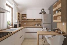 Casa este compartimentata pe zona parterului pentru hol intrare, bucatarie, loc de luat masa si living, iar la mansarda are 2 dormitoare. Kitchen Room Design, Kitchen Sets, Home Decor Kitchen, Interior Design Kitchen, New Kitchen, Home Kitchens, Kitchen Dining, Ikea Small Kitchen, Small Kitchen Diner