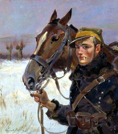 Soldier with a Horse - Wojciech Kossak