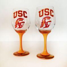 USC football Team wine glass set – usc trojans – 20 oz