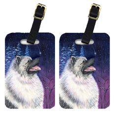 Starry Night Keeshond Luggage Tags Pair of 2