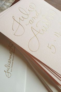 Blush wedding invitations with gold foil