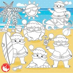 80 OFF SALE Santa Vacation Digital Stamp Commercial Use Vector Graphics