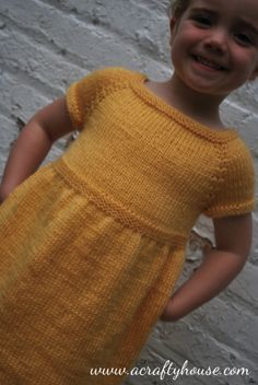 Little Girl Top Down Raglan Dress Knitting Pattern | A Crafty House: Knitting and Crochet Patterns and Crafts