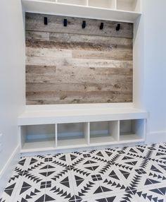 mudroom wood plank wall cubbies coat hooks  white and wood modern farmhouse floor tiles black and white via Alison Arrington (Designer) (@thedesignroom1) on Instagram